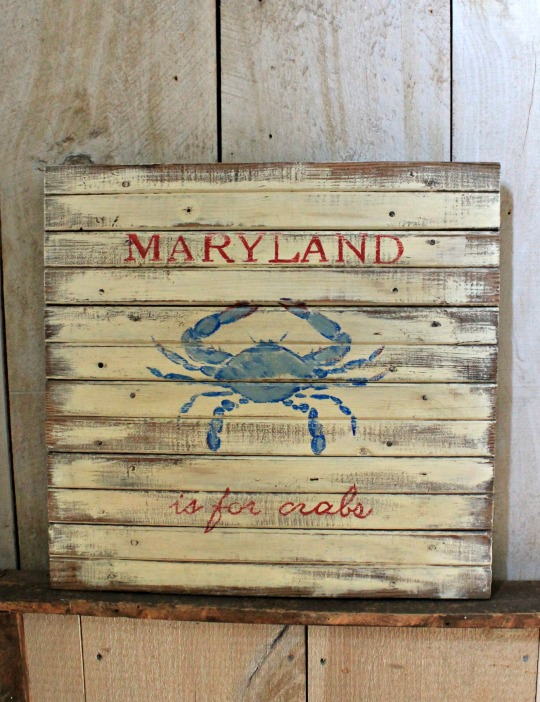 Painted Signs on Reclaimed Wood - maryland crabs