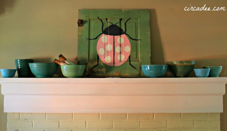 Mixing bowl collection  and a ladybug