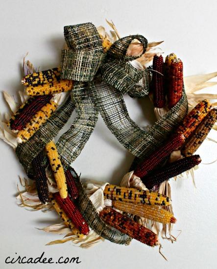 mini Indian corn fall harvest wreath