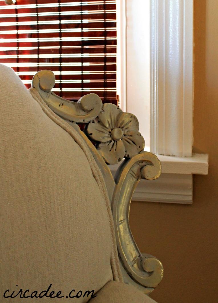 vintage club chair wood carving details