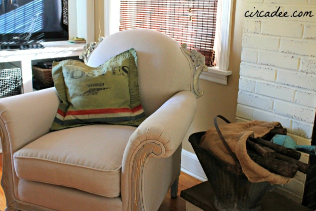 vintage club chair refinished in linen