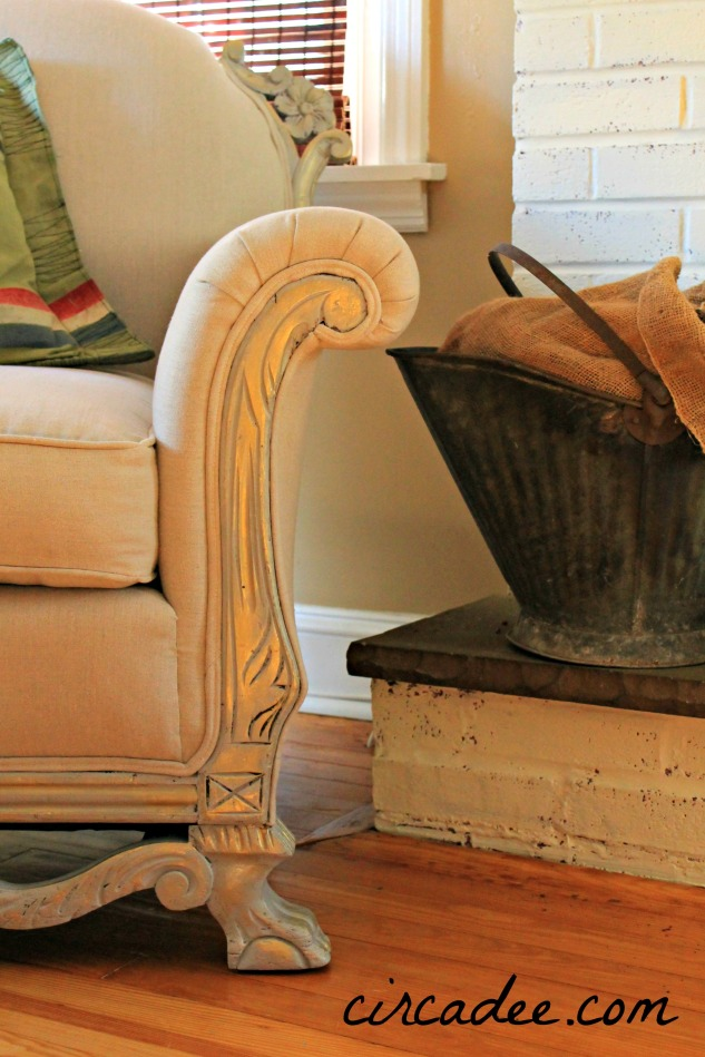 vintage club chair wood carving details