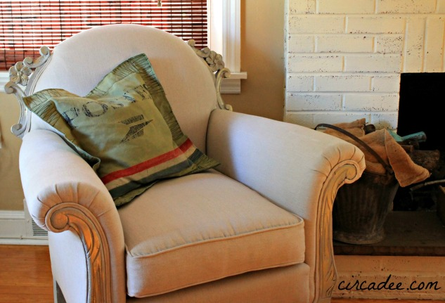 vintage club chair reupholstered in linen