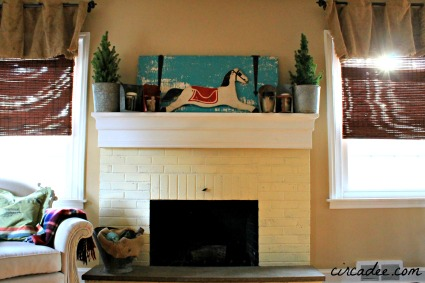 vintage holiday/winter mantel