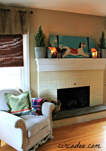 living room winter mantel