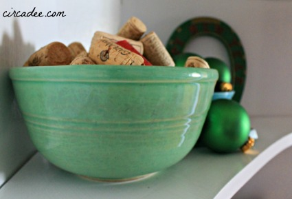Christmas vignette: wine corks in vintage mixing bowl