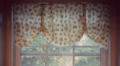 vintage table cloth turned valance