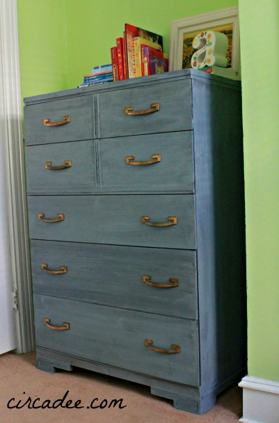 Shutter Gray washed dresser with art deco lines