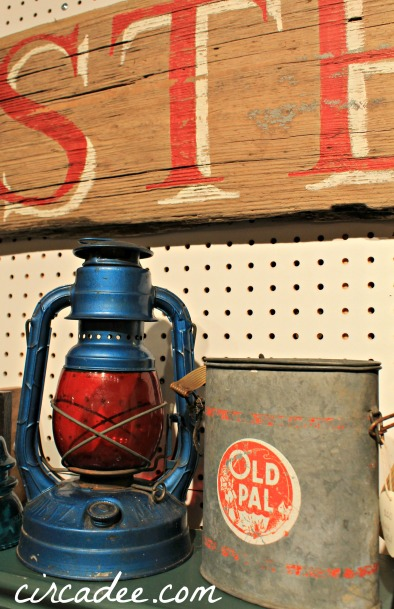 vintage coastal lantern and minnow bait bucket
