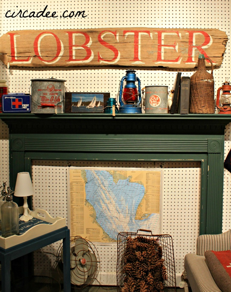 weathered DIY Lobster sign and vintage coastal mantel