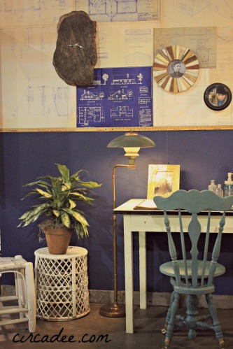 vintage blueprint wall installation