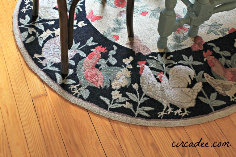 antique hooked rooster area  rug