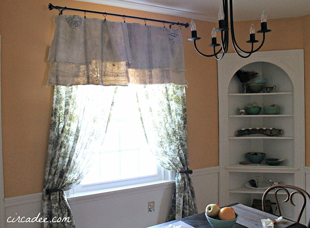 vintage toile drapes & feedsack valance - window treatment