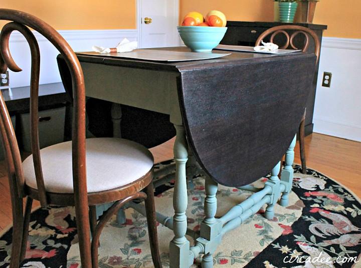 drop leaf table custom mixed sage milk paint