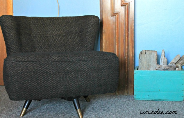 mid-century tweed swivel chair