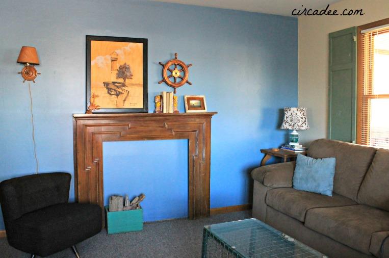 vintage coastal living room/mantel vignette