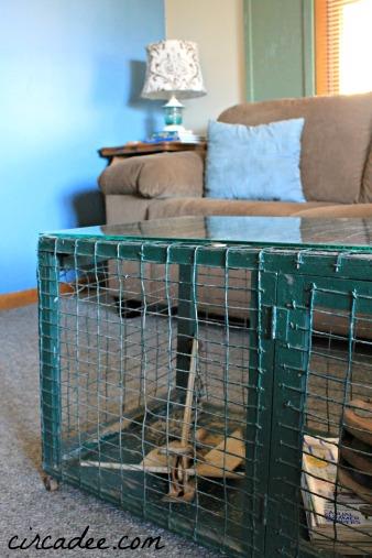 vintage cage turned coffee table