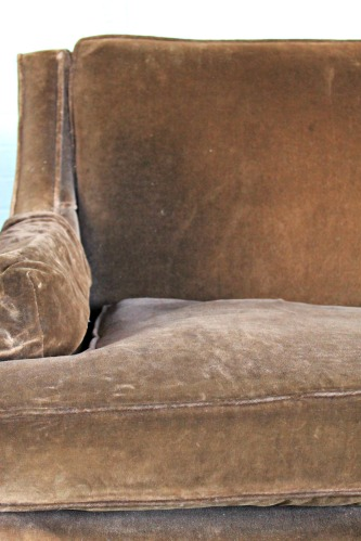 brown velour sofa
