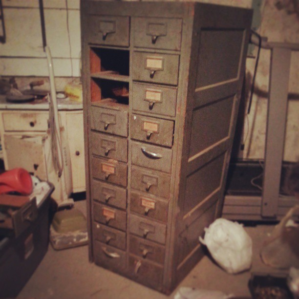 antique oak card catalog