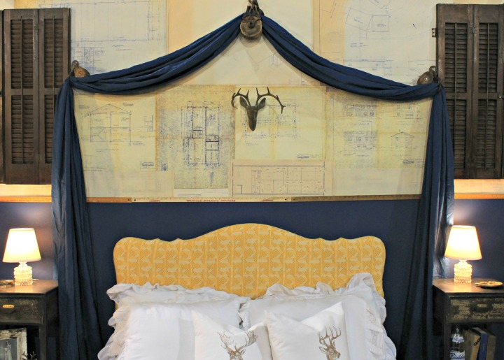 Indsutrial Pulley Drapes & Upholstered Headboard