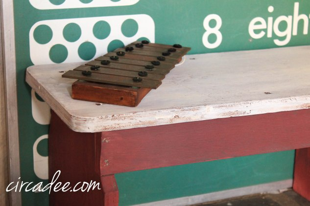 milk painted stool & vintage counting board