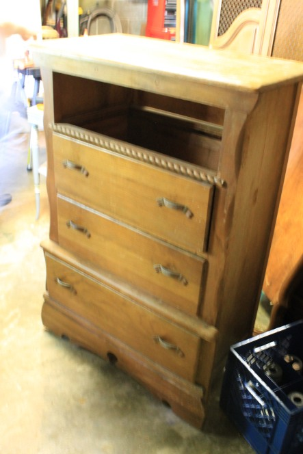 oak dresser before milk paint