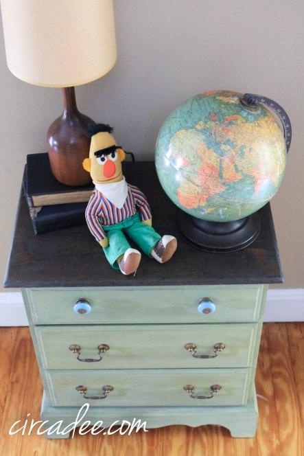 vintage bert doll, mid-century lamp & replogle globe