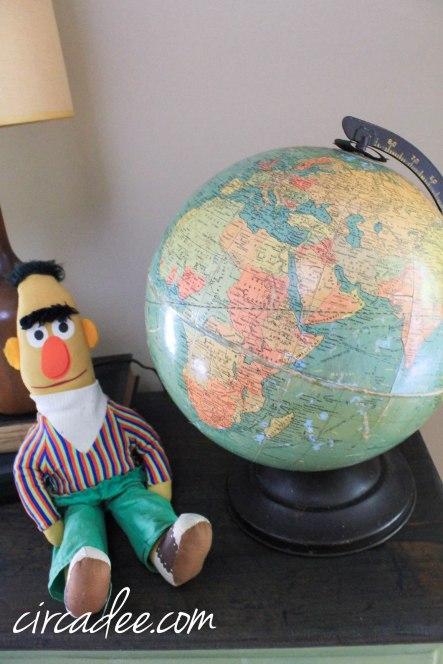 vintage bert doll & replogle globe