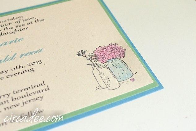 spring mason jar wedding invitation DIY blue green