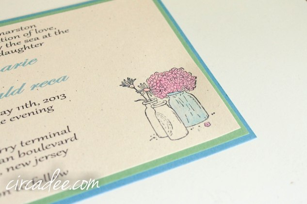 spring mason jar wedding invitation DIY blue green
