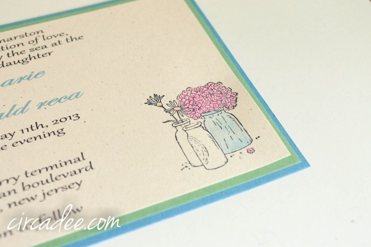 spring mason jar wedding invitation DIY blue green (5 of 10)