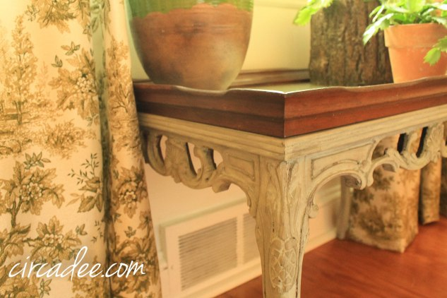french table custom mix milk paint (shutter gray, lucketts green, french enamel) antiquing wax