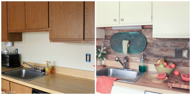kitchen before and after - pallet wood backsplash