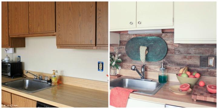 kitchen before and after - pallet wood backsplash