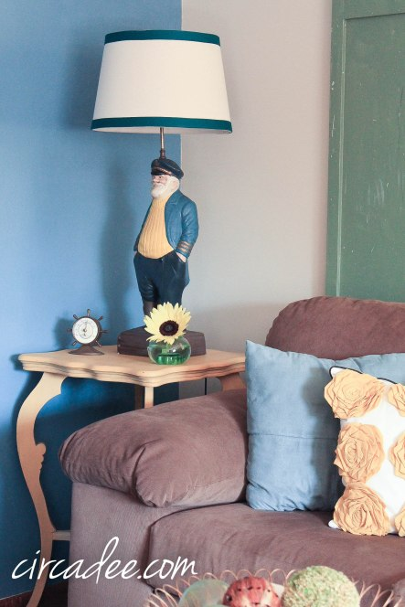 milk paint table makeover & ship captain lamp