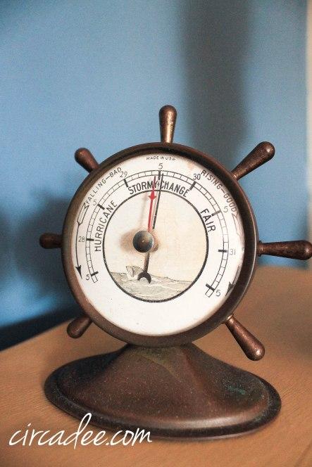 antque brass barometer