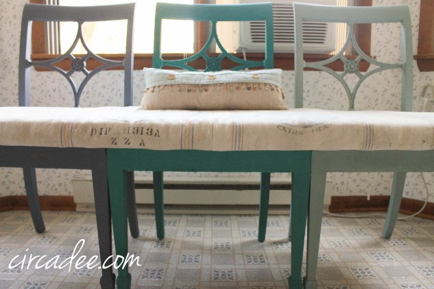 upcycled chairs turned custom bench