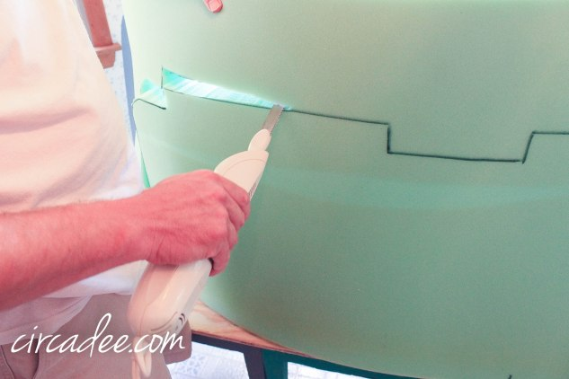 tip: use an electric knife to cut through foam cushion