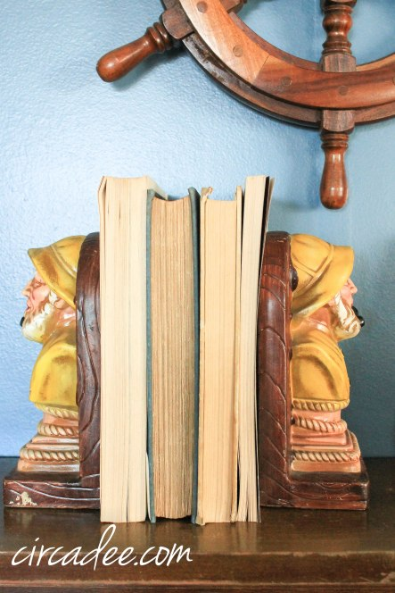 vintage ship captain bookends