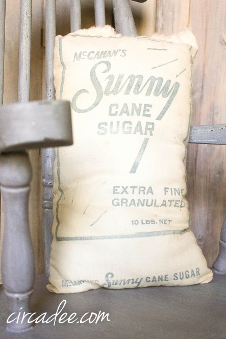 Vintage Sugar Sack Pillow - Dried Lavender Rocking Chair