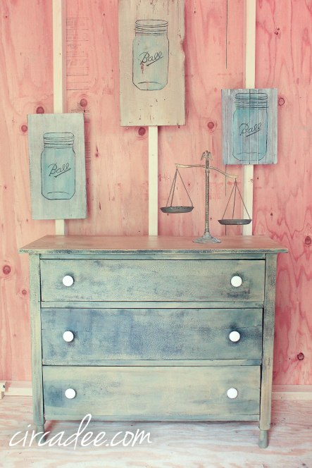 mustard seed yellow & typewriter milk paint dresser by Circa Dee
