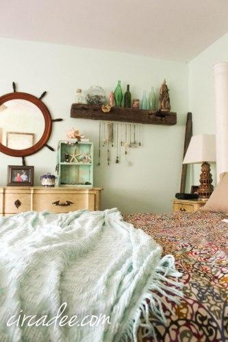 chenille blanket in coastal bedroom