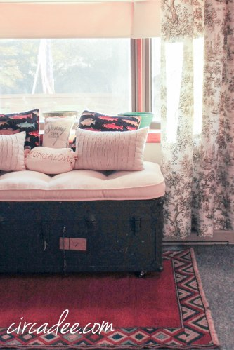 vintage ammo trunk turned bench window seat