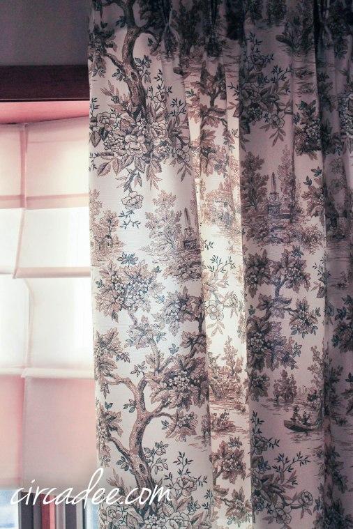vintage toile drapes