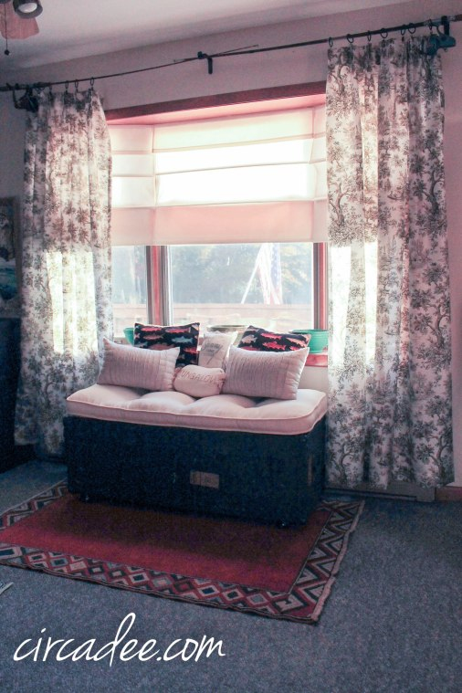 vintage military ammo trunk turned window seat + toile drapes by Circa Dee