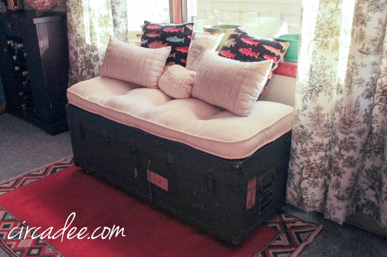 vintage military ammo trunk bench + orange kilim rug by Circa Dee