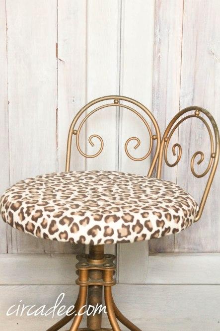 Leopard Vanity Stool