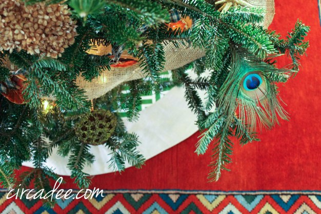 Christmas Tree peacock feathers, hydrangea & orange