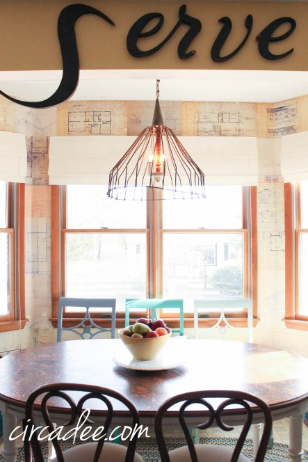 Flea Market Style Eat-In Kitchen - Vintage Serve letters, Blueprint Wallpaper, Galvanized Pendant Light