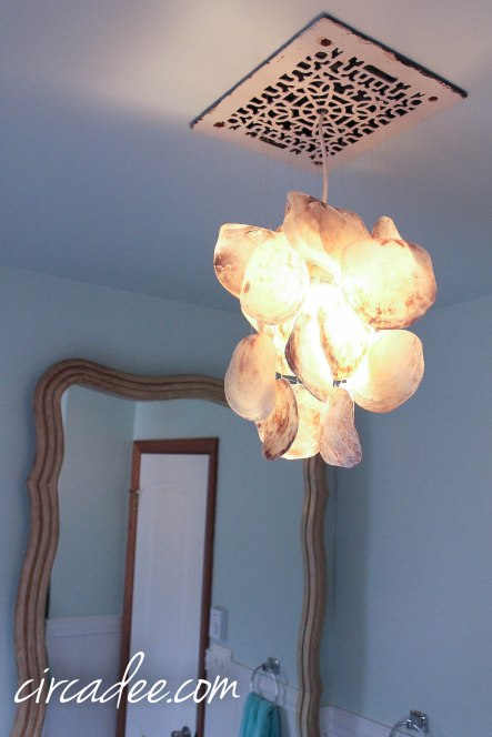 DIY Capiz Shell Chandelier and Bathroom Fan